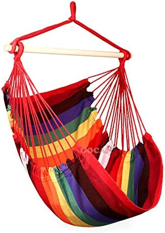 GOCAN Hammock Chair Large Hammock Swing,110 X 150cm Load 350lbs,Cotton Hanging Chair Hardwood Spreader Bar Wide Seat Swing Chair Rainbow