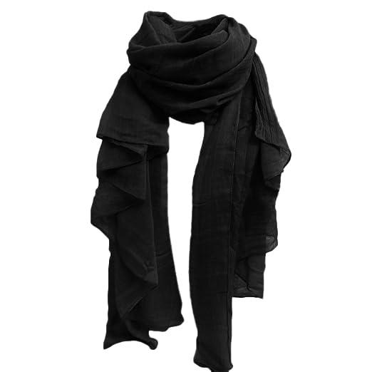 cab58e1f4356f Sanwood Women's Fashionable Cotton Linen Blended Wool Cotton Cashmere Scarf  Shawl Wrap Long Pashmina (BLACK