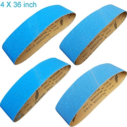Tonmp 4 X 36 Inch Metal Grinding Zirconia Sanding Belts - One Each of 40 80 100 and 120 Grits - Blue Regalite Resin Bond Cloth Sanding Belt,4 pack (4 X 36 inch)