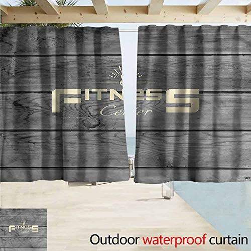 Darkening Curtains Fitness Club Wood Planks Room Darkening, Noise Reducing W55x72L Inches