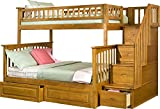 Columbia Staircase Bunk Bed with 2 Raised Panel Bed Drawers, Twin Over Full, Caramel Latte