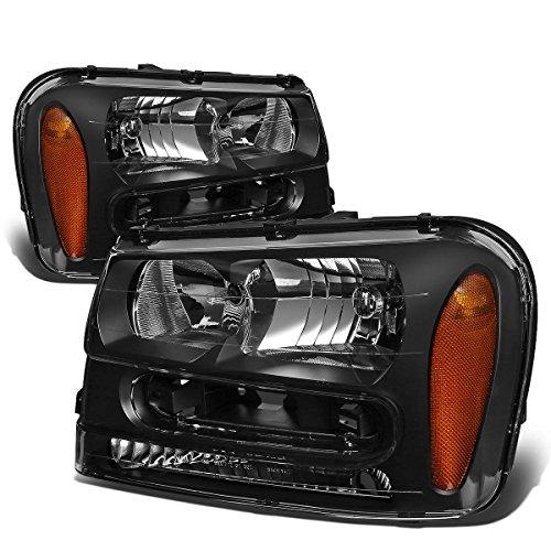 Chevrolet Trailblazer Headlight - For Chevy Trailblazer Pair of Black Housing Amber Corner Headlight Lamp Kit Replacement