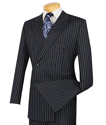 VINCI Men's Gangster Pinstriped Double Breasted 6 Button Classic-Fit Suit New [Color Navy Blue | Size: 42 Regular/36 Waist]