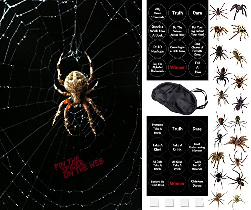 Halloween Party Games - Pin The Spider On The Web - 2 Halloween Games In 1 - A Family Friendly Version or a Drinking Game Version – NEW & IMPROVED for Halloween 2018 – Now Reusable -