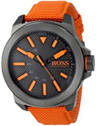 BOSS Orange Mens 1513010 New York Stainless Steel Watch with Orange Woven Band