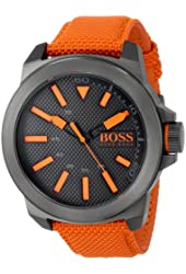 BOSS Orange Men's 1513010 New York Stainless Steel Watch with Orange Woven Band