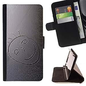 BullDog Case - FOR/Sony Xperia Z1 L39 / - / smiley happy face drawing child artwork boy /- Monedero de cuero de la PU Llevar cubierta de la caja con el ID Credit Card Slots Flip funda de cuer