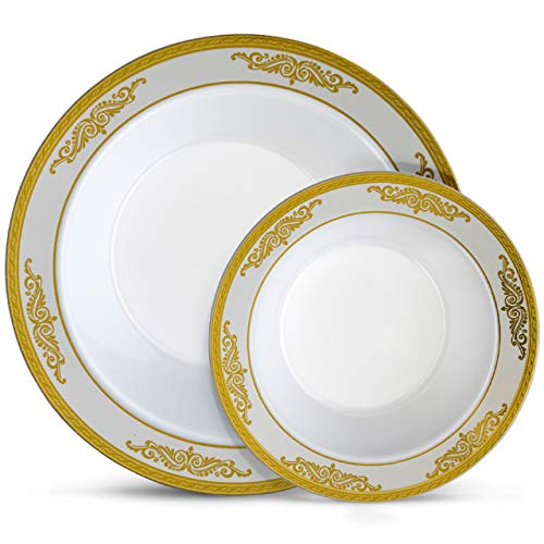 Laura Stein Designer Dinnerware Set | 32 Disposable Plastic Party Bowls White Plate with Gold Rim & Brushed Grey Accents | Set Includes 16 x 12 oz Soup Bowls + 16 x 5 oz Dessert Bowls | Traditional