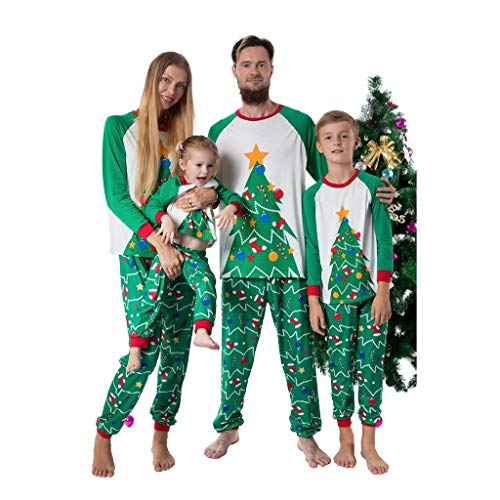 Family Matching Christmas Pajamas Set,Crytech Soft Cozy Cotton Green Santa Tree Print Top and Lounge Pant for Mom Dad and Kids Xmas Halloween Holiday Sleepwear Pjs Outfit Clothes (2-3 Years, Kid)