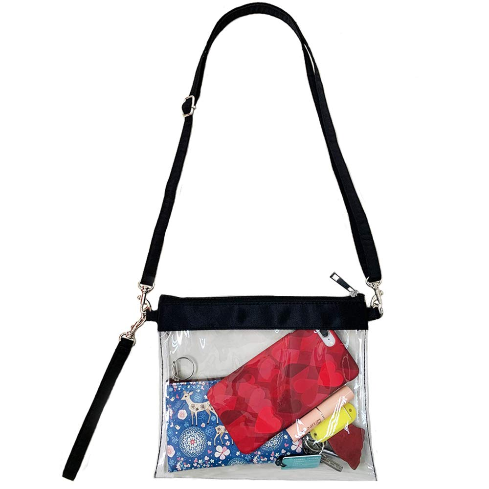 Games Auony Stadium Approved Clear Purse 100/% Clear Crossbody Purse Messenger Shoulder Bag Clear Handbags with Adjustable Shoulder Strap /& Wrist Strap for Concerts Sports