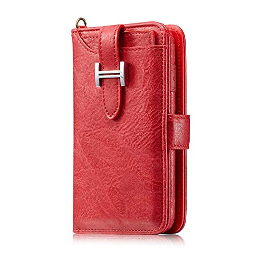 Case for iPhone Xs iPhone Case,DUMean Flip Case PU Leather Zipper with Card Slots Money Pocket Clutch Cover with Anti-Scratch Screen Protector for iPhone Xs/X - (Red)