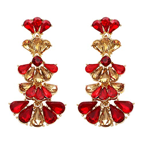 (Rosemarie Collections Women's Fashion Jewelry Extra Long Style Chandelier Crystal Drop Earrings (Red))