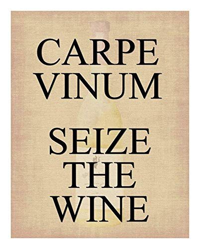 Funny Wine Print - Carpe Vinum Seize the Wine - with Wine Bottle fading in background - 11x14 Unframed Art Print - Wall Art for those Passionate about Wine- Kitchen, Dorm Poster Decor- Gift Under $20 (Best Inexpensive Sauvignon Blanc)