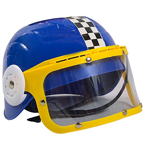 Motocross Costume For Kids (Kids Race Car Driver Costume - Costume Racing Helmet - Racing Party - Blue Hat by Funny Party Hats)