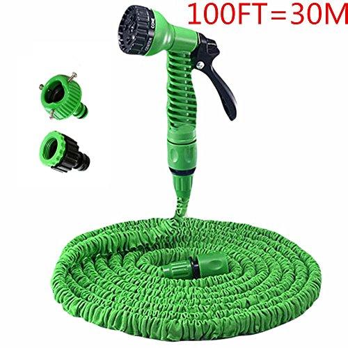 Price comparison product image Kingto 100FT Expandable Magic Flexible Garden Hose Ajustable Hose Nozzles 7 Pattern High Pressure Power Washergreen