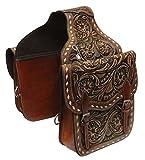 Showman Floral Tooled Leather Saddle Bag