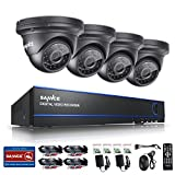 SANNCE 1080P Security DVR Recorder 4 Channel + 4pcs 1080P 100ft Night Vision Mobile P2P Remote IP66 Weatherproof Dome Surveillance Camera System (No HDD)