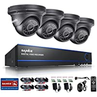[NEW 1080P] SANNCE® 4CH 1080P CCTV DVR System with 4x HD 1920x1080 Outdoor Security Dome Cameras ( 2.0 Mega-Pixels, P2P Technology, Vandal and Weather-Proof Body, Day/Night Vision)-NO HDD