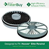 2 - Hoover Elite Rewind Exhaust Filters, Part # 59157014. Designed by FilterBuy to fit ALL Hoover Elite Rewind Bagless Vacuum Cleaners