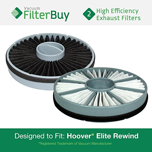 - 2 - Hoover Elite Rewind Exhaust Filters, Part # 59157014. Designed by FilterBuy to fit ALL Hoover Elite Rewind Bagless Vacuum Cleaners