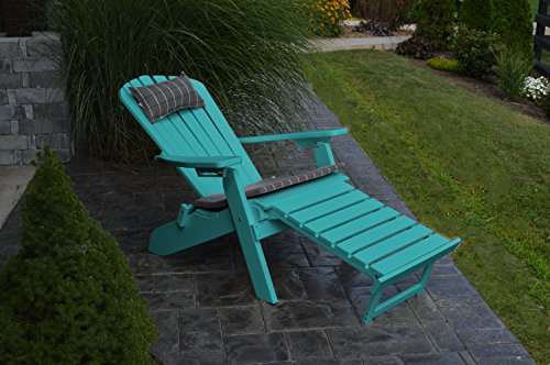 A & L Furniture Poly Folding/Reclining Adirondack Chair with Pullout Ottoman, Aruba (Outdoor Reclining Ottoman)