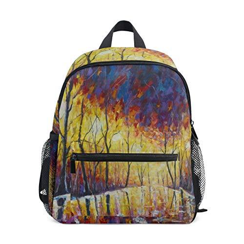 Art Painting Tree Europe City Street School Backpack for Girls Kids Kindergarten School Bags Child Bookbag