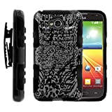 LG Ultimate 2 L41C , Holster Combo, LG Optimus L70 Dual Layer Rugged Heavy Duty Hybrid High Impact Kickstand Case Exclusive Camouflage Design Collection By TurtleArmor - Silver Leopard