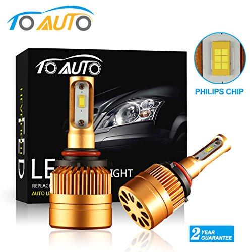 ToAUTO 9006 HB4 led headlight bulbs Conversion Kit ,super bright Philips Chips 8000LM 6000k white Replace for Halogen Bulbs or HID