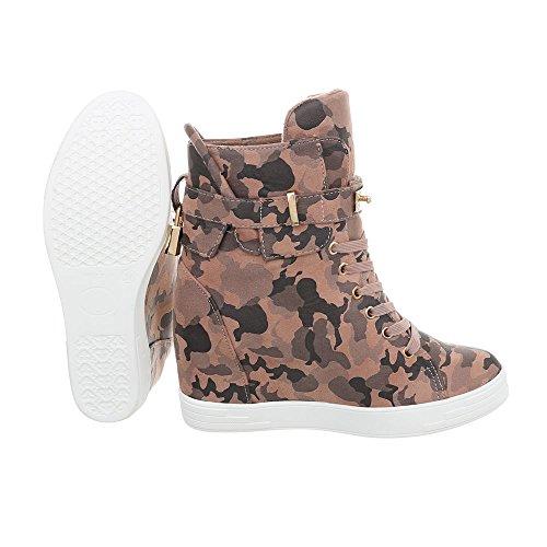Ital-Design Sneakers High Damenschuhe Keilabsatz/Wedge Keilabsatz Reißverschluss Freizeitschuhe Pink Multi LS3002