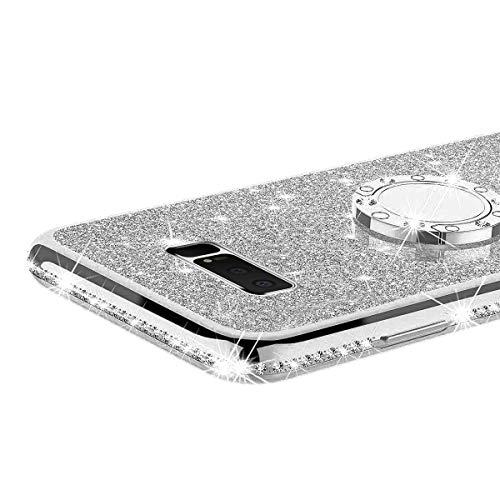 De Housse Béquille Protection Argent Bling Diamant Silicone argent 360 Compatible Glitter Anneau Kickstand Souple 8 Avec Bumper morechioce Étui Coque Galaxy Strass Samsung Note Rotation Ux6FxTpA