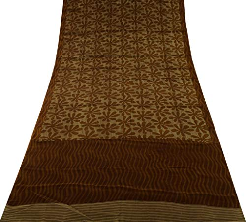 Vintage Indian Saree 100% Pure Crepe Silk Printed Sari Soft Dress Fabric Brown (Pure Saree Crepe)