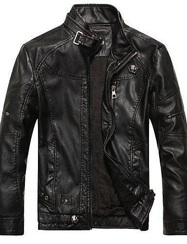 AMEA Men's Casual/Daily Vintage Spring Fall Leather Jacket,Solid Striped Print Stand Long Sleeve Regular Linen Acrylic Calfskin , black , xl (Calf Striped Leather Black)