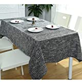 "NOMSOCR Cotton Linen Tablecloth Dust-Proof & Spillproof Table Cover for Kitchen Dinning, Machine Washable (Deep Grey, 55.1""x86.6"")"