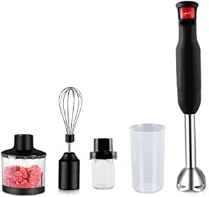 HLLZRY 600W Electric Hand Blender, Powerful 5-in-1 Immersion Blender, Stick Blender, Food Processor with Infinitely Variable Speed, Stainless Steel, Includes 5 Attachments