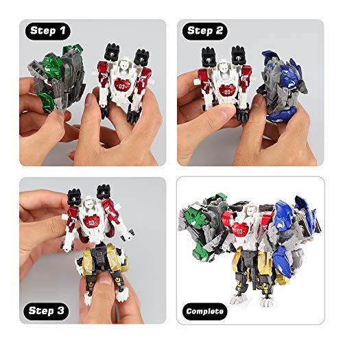 Bogeer [ New Pack ] Transform Robot Kids Toys, 4 Pcs Mini Robot Toys, Transformation Alloys Robot, Double Morphological Transformations Robot Toys for Kids Children 3+ Years (D)