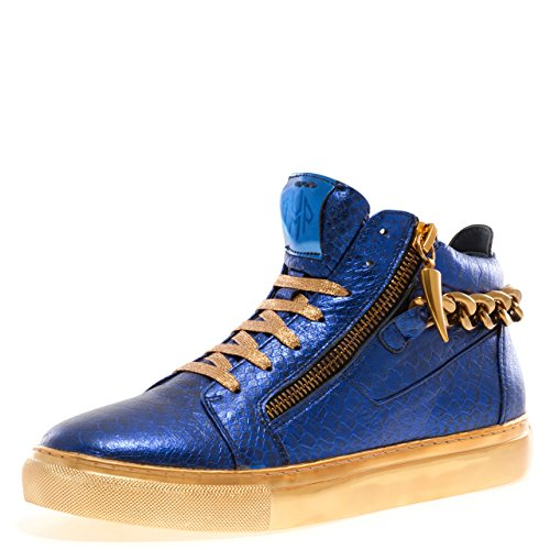 Jump J75 Men's Zack Chain Round Toe Rear Zipper Leather Lace-up High-Top Sneaker Blue Reptile 8 D US Men