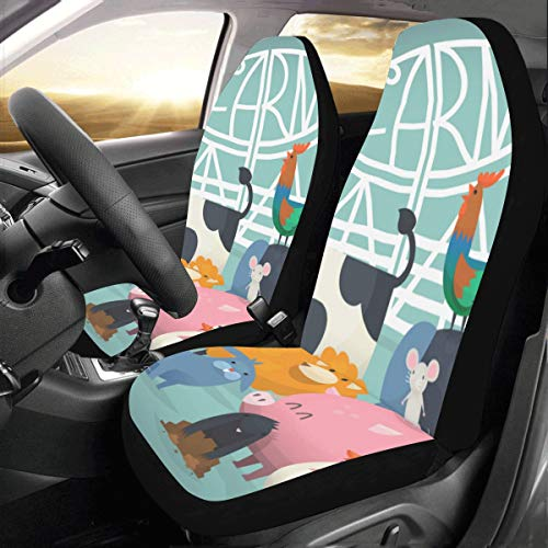- Farm Yard Cute Cartoon Animal Family Wild Home Universal Fit Auto Drive Car Seat Covers Protector for Women Automobile Jeep Truck SUV Vehicle Full Set Accessories for Adult Baby (Set of 2 Front)
