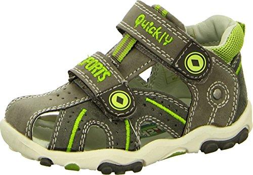 Quickly 2943-74137 Kinder/Baby Sandaletten mit Zehenschutz und individuellen Klettverschlüssen in Grau mit Neon-Grünen Einsätzen für Freizeit, Spielplatz und Garten