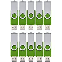 FEBNISCTE USB 2.0 Swivel Flash Drive Memory Stick Pendrive , 128MB, Green, Pack of 30 with LOGO (30 lanyards))
