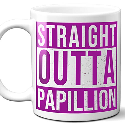 Straight Outta Papillion USA Souvenir Mug Gift. Love City Town Lover Coffee Unique Cup Men Women Birthday Mothers Day Fathers Day Christmas. Purple. 11 oz.
