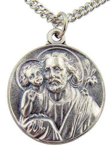 Joseph Patron Saint Medal (Silver Toned Base Patron Saint Joseph the Worker Father Medal, 7/8 Inch)