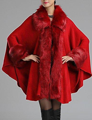 Cap Helan chaud Tricot Rouge Violace Manteau femmes Fashion Faux Cape 0qXw0UrF