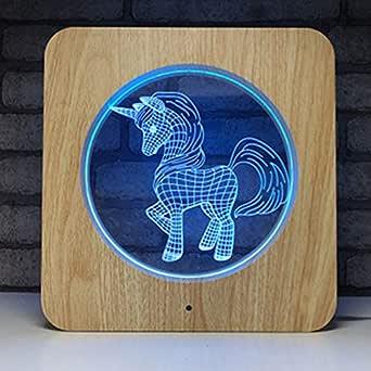 Unicornio Lámpara Visual de madera 3D Ilusión óptica Luz De ...
