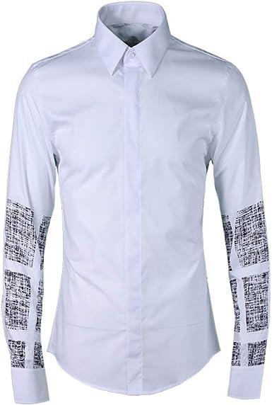 Camisa Blanca Hombre Camisa De Hombre con Estampado Digital Y Textura Cuadrada Slim Fit Camisa Formal Elástica De Manga Larga Casual Camisas con Botones Sólidos, White, L: Amazon.es: Ropa y accesorios