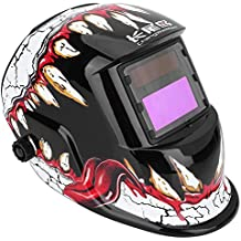 Auto Darkening Welding Helmet Solar Powered 3.62×1.65in/9.2×4.2cm SUPER VIEW TIG MIG Welder Protective Mask with Adjustable Shading DIN9-13 Face Protector for Manufacturing Dinosaur Tooth