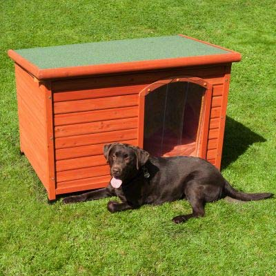Woody Flat-Roofed Dog Kennel made from lacquered wood, completely collapsible and with a plastic door and green roof Size M  104 x 66 x 70 62 cm (L x W x H)