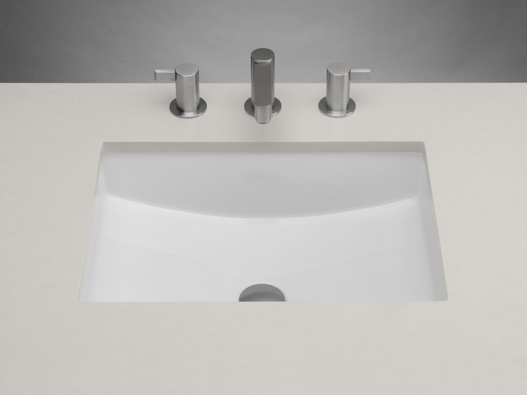 Ronbow 200520 Rectangle Ceramic Undermount Bathroom Sink With Finish: White