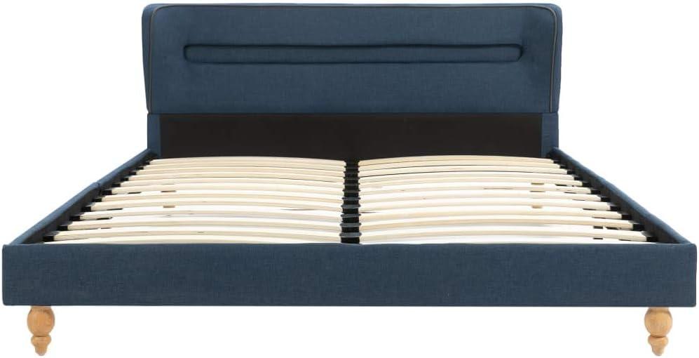 Tidyard Cadre de Lit en Tissu avec Bande de LED Design El/égant Gris Clair 120 x 200 cm Matelas Non Inclus