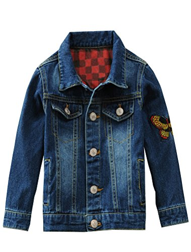 Mallimoda Boys Denim Jacket Trucker Embroidery Coat Button Down Style 1 Blue 5-6 Years