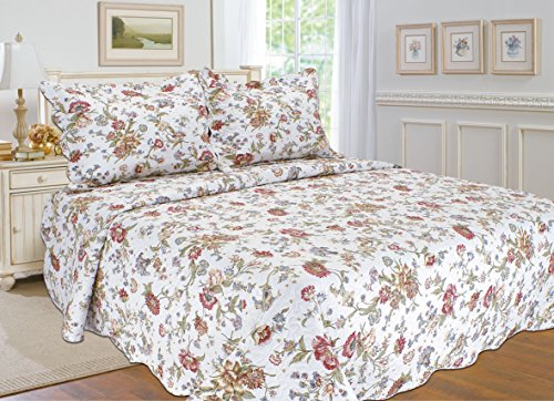 "ALL FOR YOU 3pc Reversible Supreme 100% Cotton Bedspread, Coverlet,Quilt Set-Flower Prints-Full/Queen Size-86"" x 86"""